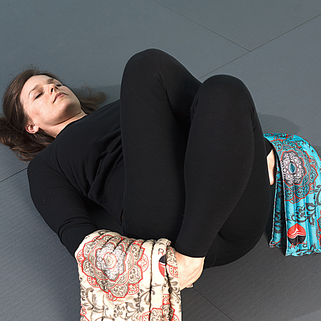 Detail of reclined gomukhasana